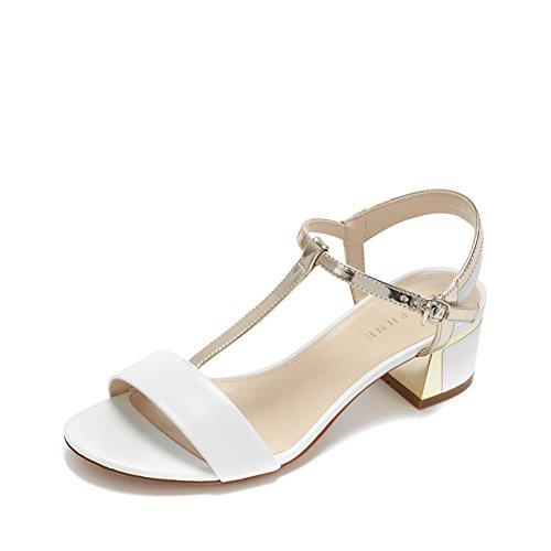 Verano Zapatos De Rocío De Tacón Bajo/Sandalia Redonda Simple De La Correa Del Color Del Topetón De La Cabeza A