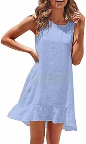 5abb6bd87b69 Dresses for Women Casual Summer Shusuen Women's Casual Tank Long Sleeveless  Knee Length Loose Fit Pleated