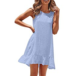 Pengy Womens Sleeveless Pleated Dress Fashion Solid Color Skirt Ladies Casual Loose Summer Dress Blue