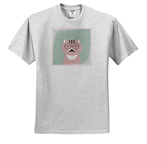 Andrea Haase Animals Illustration - Cute Clever Hipster Cat With Glasses and Mustache - T-Shirts - Toddler Birch-Gray-T-Shirt (3T) - Hipster Toddler Glasses