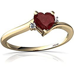 14kt Gold Ruby and Diamond 5mm Heart Delicate Heart Ring