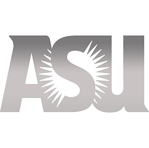 ANGDEST ASU Arizona State University LOGO (METALLIC SILVER) (set of 2) Premium Waterproof Vinyl Decal Stickers Laptop Phone Accessory Helmet Car Window Bumper Mug Tuber Cup Door Wall Decoration -