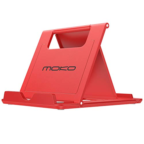 MoKo Cellphone/Tablet Stand, Foldable Multi-Angle Desktop Holder Fit Devices(6-11), Fit iPhone Xs/XS Max/XR/X/8 Plus/8, Galaxy S9/Note9, iPad Pro 11 2018, Nintendo Switch, Red