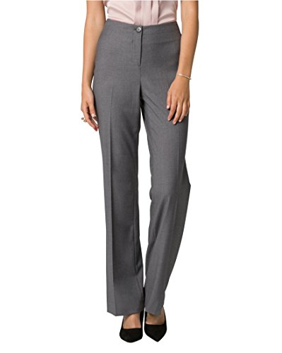 LE CHÂTEAU Women's Tailored Gabardine Flare Leg Pant,12,Medium Grey by LE CHÂTEAU