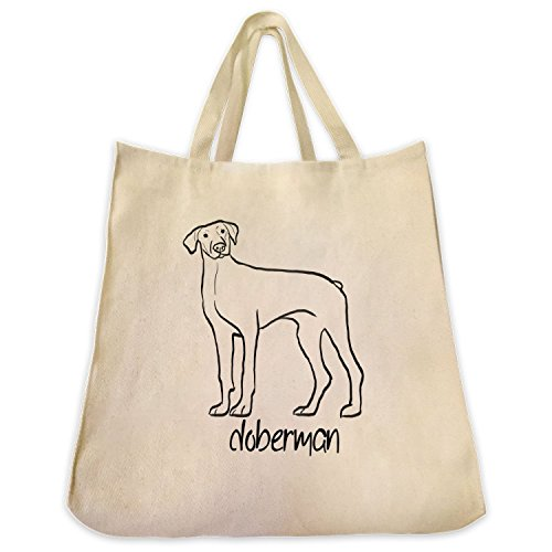 Doberman Pinscher Dog Outline Design Tote Bag - Extra Large Cotton Twill Eco Friendly Reusable Shopping Grocery Handbag
