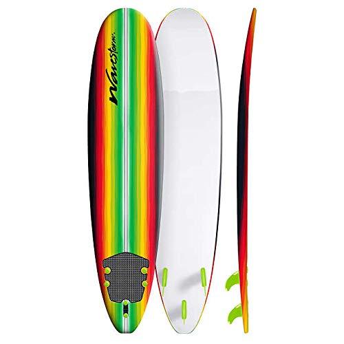 Wavestorm Classic 8′ Surfboard Rasta Pinline Multi-Color