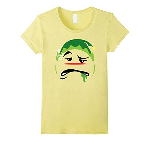 [Women's Funny Christmas Drunk Elf Emoji Holiday T-Shirt Elves Large Lemon] (Martini Costume Halloween)