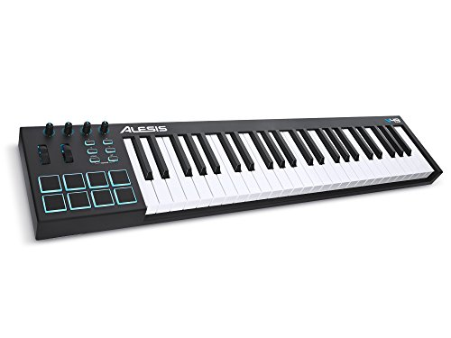 Alesis V49 | 49-Key USB MIDI Keyboard & Drum Pad Controller (8 Pads / 4 Knobs / 4 Buttons) by Alesis
