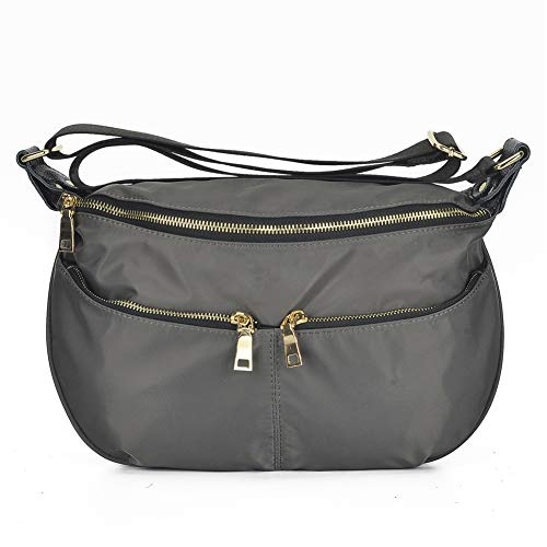 Handbag Bag Pocket Nylon Multi Grey Shoulder Hobo Large Bag Crossbody Mynos Purse vx414p