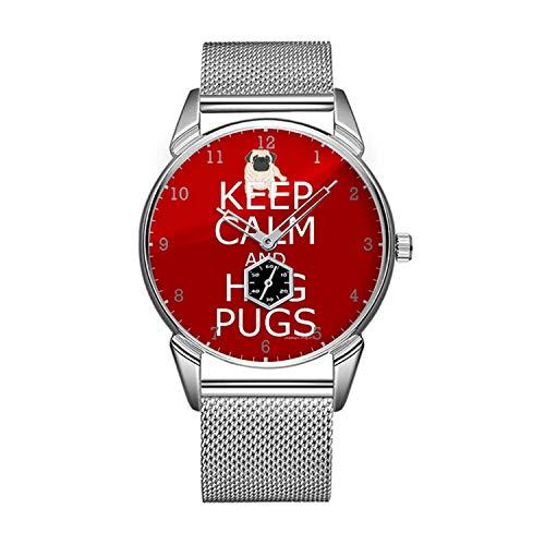 Fashion Waterproof Watch for Keep Calm Hug Pugs Wristwatch Minimalist Golden Watch]()