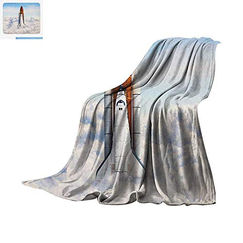 Luoiaax Outer Space Digital Printing Blanket Rocket Taking Off on Mission Spaceman Planet Gazing Endeavour Power Print Oversized Travel Throw Cover Blanket 62