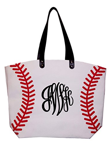 X-Large 22 in Wide Baseball Design Beach Bag Tote -- Personalization Available (Baseball - Monogram)