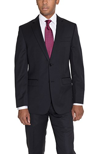 Super 120 Wool Suit (Montefino Uomo Classic Fit Black Two Button 100% Super 120's Wool Suit)