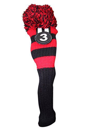 Wood Limited Edition (Majek Golf Club #3 Red Black Limited Edition Fairway Wood Cover Tour Knit Retro Vintage Pom Pom Classic Long Neck Metal Longneck Woods Headcovers)