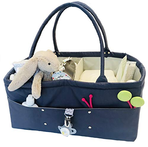 (Baby Diaper Caddy Organizer by Lily Miles - Baby Shower Gifts Boy or Girl - Nursery Organizer for Changing Table - Car Travel Tote Bag - Book Organizer - Large XL Baby Caddy for Newborn Essentials )