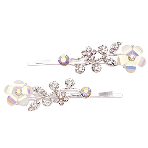 Rosemarie Collections Women's Hair Clip Aurore Borreale Crystal Flower Rhinestone Bobby Pins (Silver Tone)
