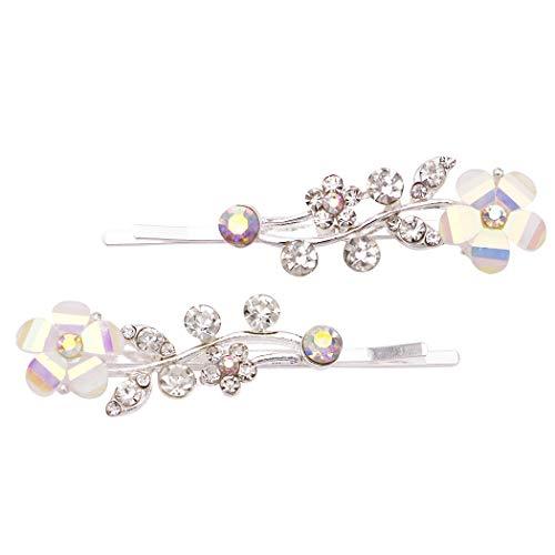 Rosemarie Collections Women's Hair Clip Aurore Borreale Crystal Flower Rhinestone Bobby Pins (Silver Tone) (Rhinestone Pin Tone)