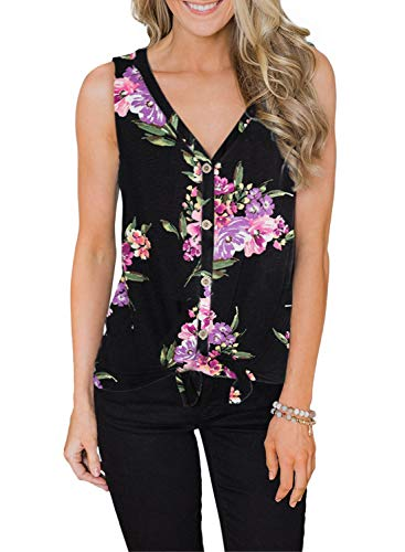 ZKESS Womens Loose Henley Blouse Sleeveless Floral Print Button Down T Shirts Tie Front Knot Tops X-Large Black XX-Large Size