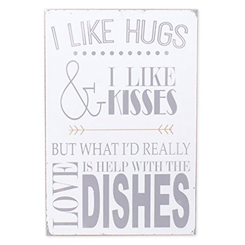 Buy cheap large like hugs and kisses love help with dishes wood block table sign