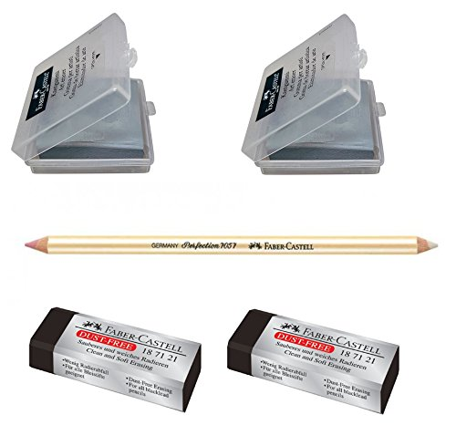 Faber-Castell Pencil erasers drawing bundle - Kneaded erasers, pencil erasers and Perfection eraser with brush
