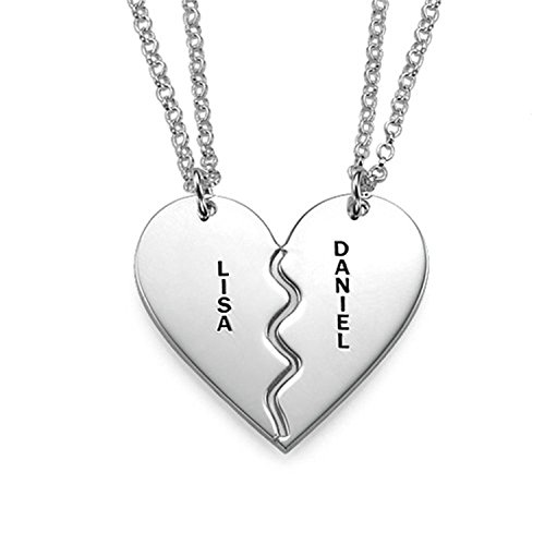 (STARATION Sterling Silver His Her 2 Half Heart Necklace Personalized Name Disc Engraved Pendant,Gift for Couple Lover,18