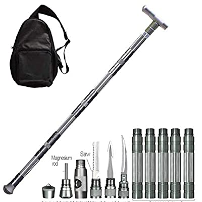 YAH Multi-Purpose Trekking Pole Outdoor Crutches Walking Poles Outdoor Camping Defense Stick Safety Multi-Functional Home Rod Hiking Survival Tool