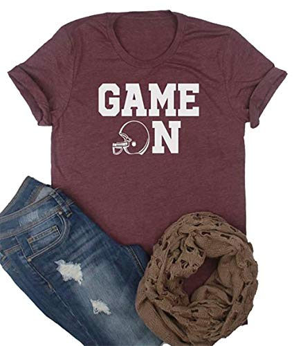 Game On Football T Shirt Womens Cute Football Mom Short Sleeve Graphic Tee Shirt Tops Size L (Red)