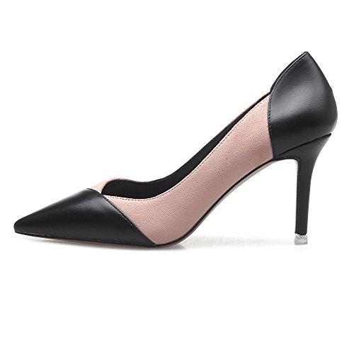 Légeres Chaussures Couleurs Mélangées Femme Pointu Rose Tire Aalardom Stylet qw0EpnY