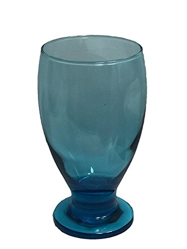 Stub Stem Water Glass Goblet 11.75 oz, Set of 4 (Aqua)