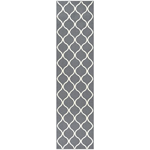 Maples Rugs Runner Rug - Rebecca 2'6 x 10' Non Skid Hallway Carpet Entry Rugs Runners [Made in USA] for Kitchen and Entryway, Grey/White by Maples Rugs