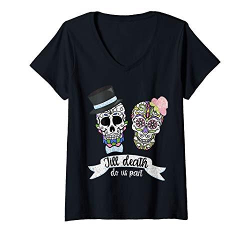 Womens Till Death Do Us Part Sugar Skull Wedding Bride Groom V-Neck T-Shirt]()