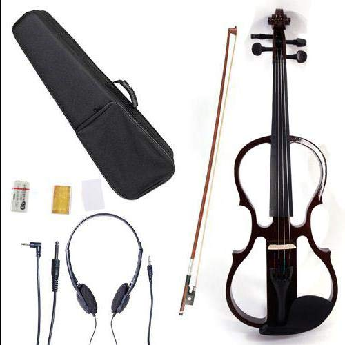Brown 4/4 Solid Wood Electric/Silent Violin with Ebony Fittings - Full Size - Black Metallic by Aromzen (Image #5)