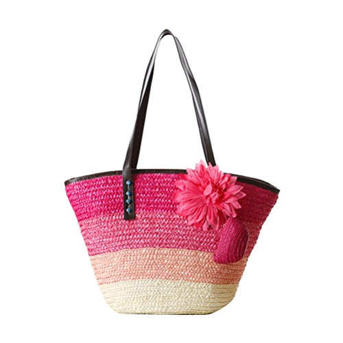 Package Color Style Buns Single Striped Hit Casual sac Korean Bags Flowers Package Red for Beau spécial Rose Shoulder Woven Zhhlaixing Womens Beach Straw wxqAg77