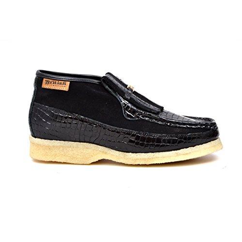 Britse Collectie - Apollo Croc En Suede Heren Slip-on Schoenen Black Croc