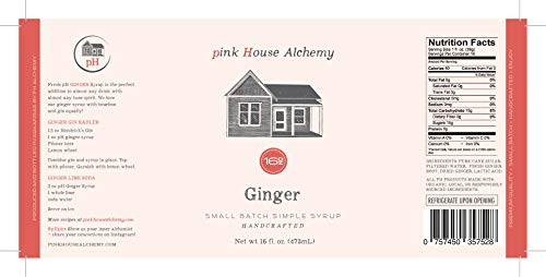 Pink House Alchemy Ginger Syrup - 16 oz Simple Syrup Cocktail Drink Mix - Use to Flavor Coffee - Hawaiian Shaved Ice - Dessert Topping - Using Only Fresh Herbs - Free Book See Package (G 16)