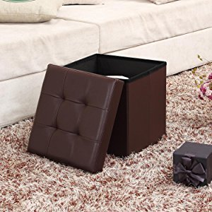 Faux Leather Folding Storage Ottoman Bench Children Seat Foot Rest Stool
