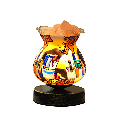 Maymii•Home Baroque Totem Lampwork Glass Vintage Black Gold Metal Base Natural Carved Himalayan Pink Salt Rock Crystal Lamp Lamps Nightlight, UL Listed Control, 2 Bulbs, UL-Listed Cord & Bulb… (Vintage Crystal Gold)