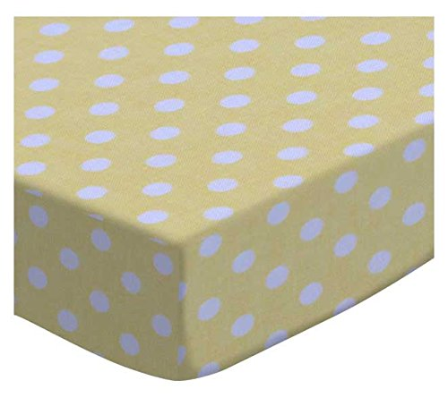 SheetWorld Fitted Cradle Sheet - Pastel Yellow Polka Dots Woven - Made In USA