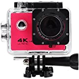 Acouto Action Camera 16M 4K 2.4G Wifi Waterproof Sports Cam 170°Wide Angle with Waterproof Housing Case and Remote Control Accessories Kits (Red)
