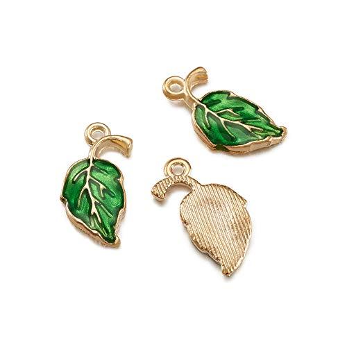 Pandahall 10pcs Leaf Alloy Enamel Pendants 19.5x9.5x2.2mm Green Leaf Charms Golden Plated for Earring Bracelet Jewelry Making