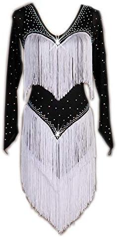 garuda 社交ダンス衣装 レディースダンスドレス 社交ダンス ラテン競技衣装 セミオーダー 石飾り 長袖 黒白 XL
