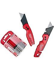 Milwaukee Fastback Flip Utility Knife 2 Piece Set with Razor Blade Dispenser (50 Blades Included)