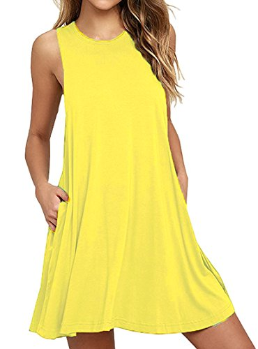 Unbranded* Women\'s Sleeveless Pocket Casual Loose T-Shirt Dress Yellow
