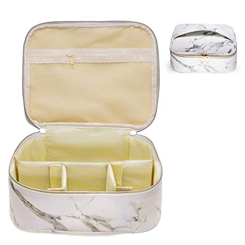 - Joliesse Cosmetic Bags PU Marble Travel Train Case Portable Toiletry Storage Makeup Pouch with Adjustable Dividers for Women Organizer