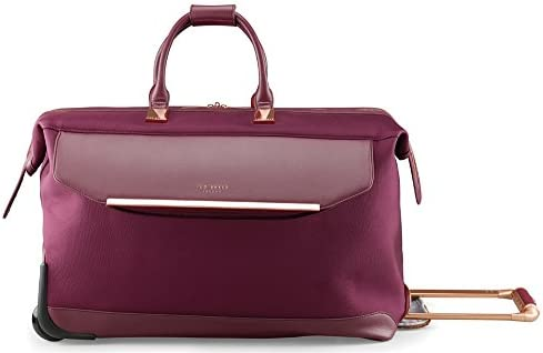 Ted Baker Women's Albany Softside Luggage, Suitcase Collection (Burgundy, Carry-On Duffel 21-Inch)