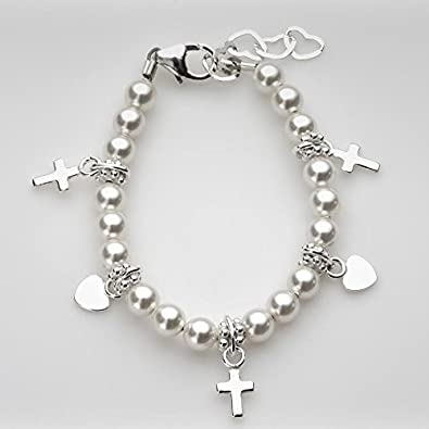 Christening Sterling Silver Crosses and Hearts with White Swarovski Simulated Pearls Goddaughter Girl Bracelet Crystal Dream AZBPWCH_SMALL