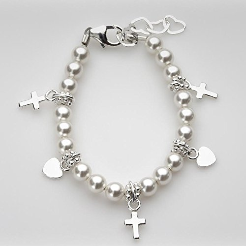 Link Religious Cross - Christening Sterling Silver Crosses and Hearts with White Swarovski Simulated Pearls Goddaughter Girl Newborn Bracelet (BPWCH_S)