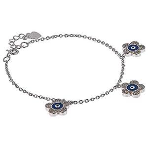 AK Jewels 925 Silver Flower Evil Eye Bracelet For Women
