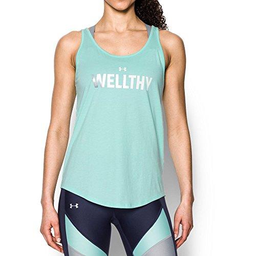 Under Armor Women's Wellthy Short Sleeve T-Shirt, Blue Infinity/Silver, Medium