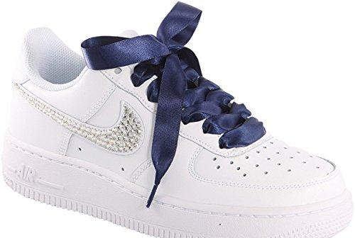 Schnürsenkel Marineblau, Satin, Spitze für Nike Air Force mit unserem Pimp My Shoes-Logo, Sicherung an Seilenden: Dunkelblau